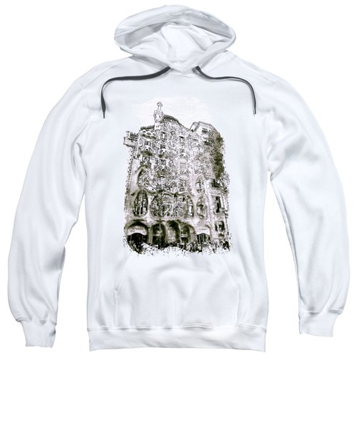Casa Batllo Barcelona Black And White Sweatshirt by Marian Voicu