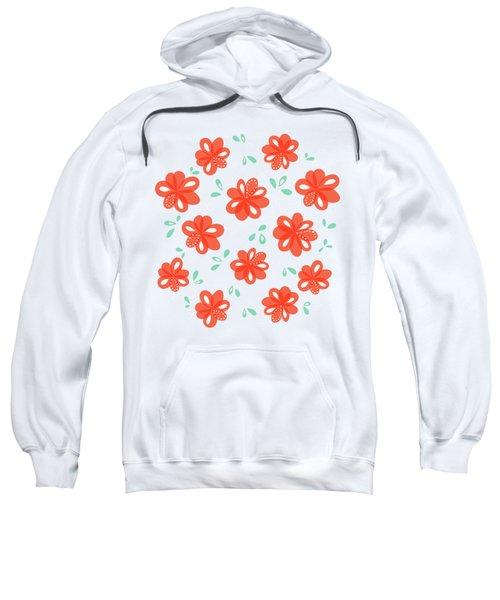Cheerful Red Flowers Sweatshirt