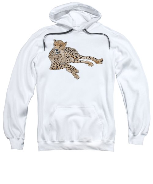 Cheetah Resting, Isolated On White Background, Cartoon Style #1 Sweatshirt