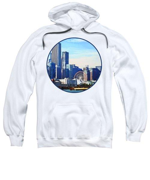 Chicago Il - Chicago Skyline And Navy Pier Sweatshirt by Susan Savad