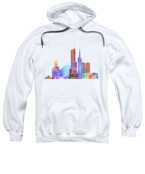 Chicago Landmarks Watercolor Poster Sweatshirt by Pablo Romero