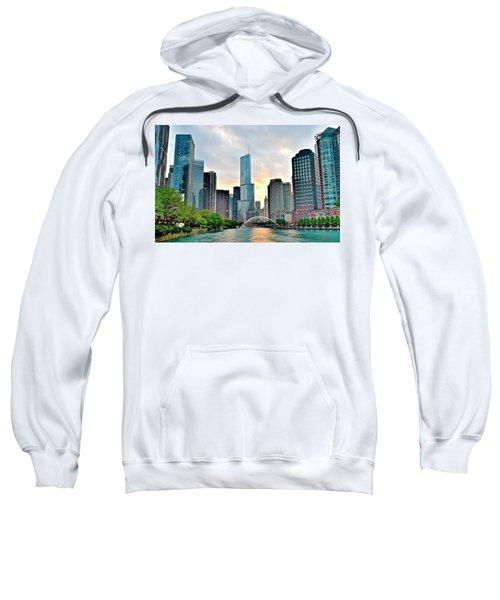 Chicago River View At Sunset Sweatshirt