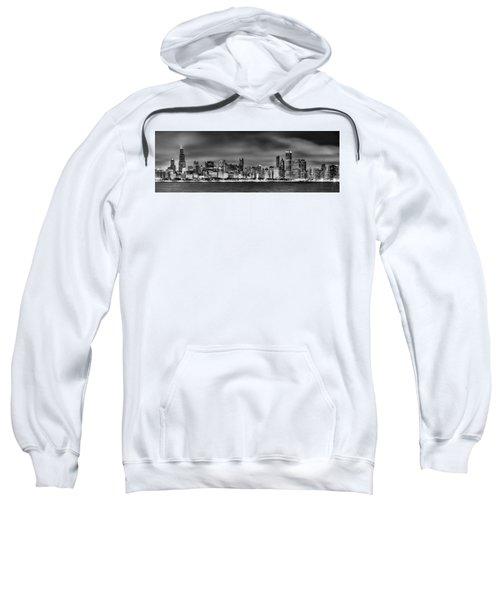 Chicago Skyline At Night Black And White Sweatshirt