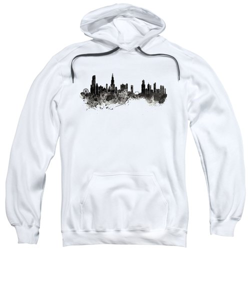 Chicago Skyline Black And White Sweatshirt by Marian Voicu