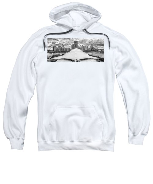 Sweatshirt featuring the photograph Chicago Skyline From Navy Pier Black And White by Adam Romanowicz