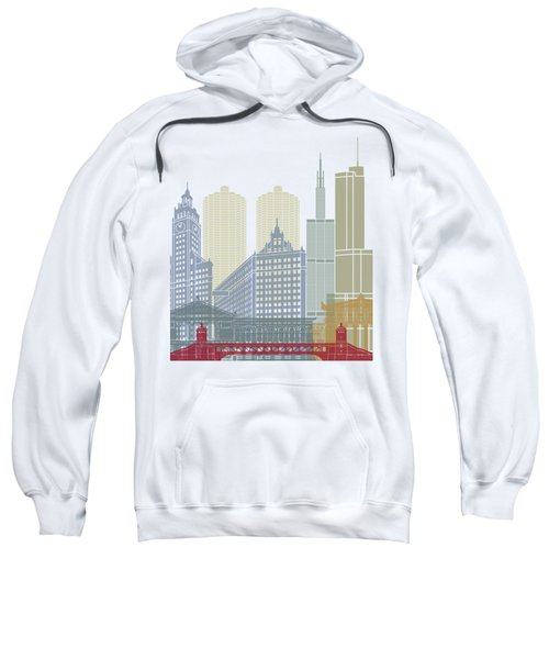 Chicago Skyline Poster Sweatshirt by Pablo Romero