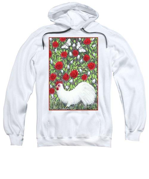 Chicken And Butterflies In The Flowers Sweatshirt