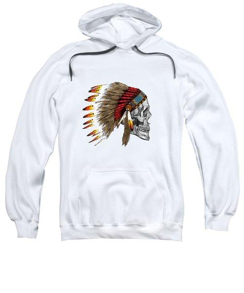 Chief Headdress On Human Skull Native American Art Sweatshirt