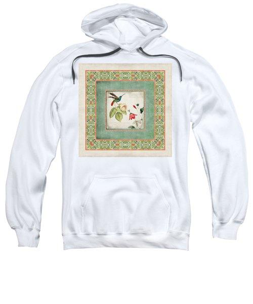 Chinoiserie Vintage Hummingbirds N Flowers 2 Sweatshirt