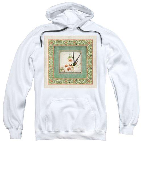 Chinoiserie Vintage Hummingbirds N Flowers 3 Sweatshirt