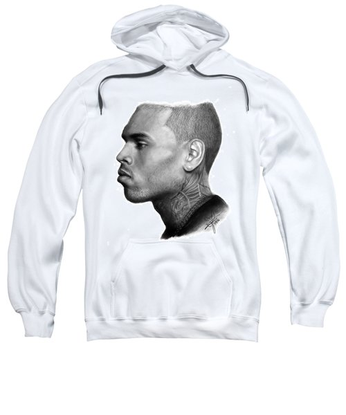 Chris Brown Drawing By Sofia Furniel Sweatshirt