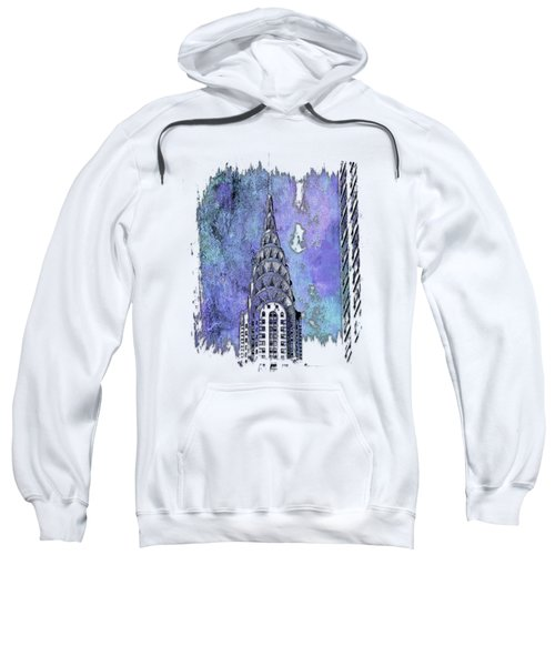 Chrysler Spire Berry Blues 3 Dimensional Sweatshirt by Di Designs