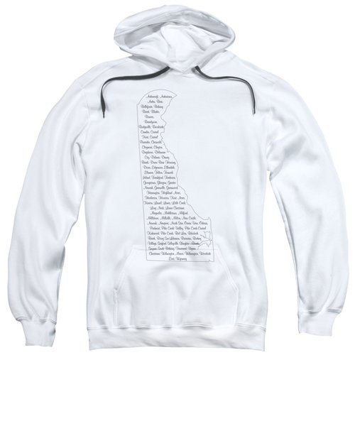 Cities And Towns In Delaware Black Sweatshirt by Custom Home Fashions