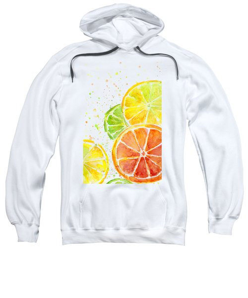 Citrus Fruit Watercolor Sweatshirt by Olga Shvartsur