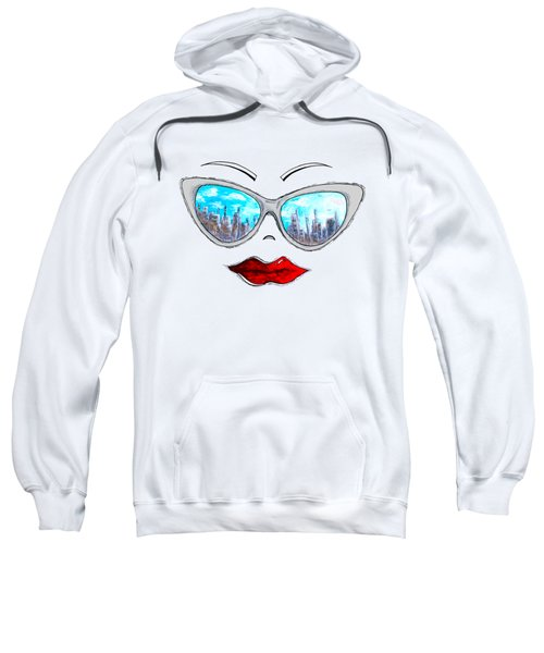 City Skyline Cat Eyes Reflection Sunglasses Aroon Melane 2015 Collection Collaboration With Madart Sweatshirt