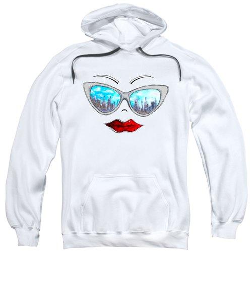 City Skyline Cat Eyes Reflection Sunglasses Aroon Melane 2015 Collection Collaboration With Madart Sweatshirt