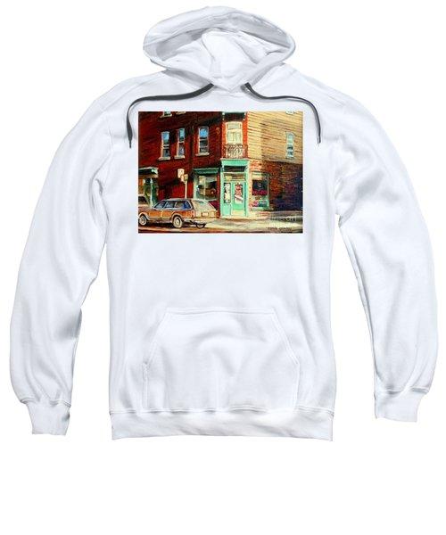 Classic Corner Deli Montreal Memories Wilensky Diner Paintng City Street Scenes Canadian Art Sweatshirt