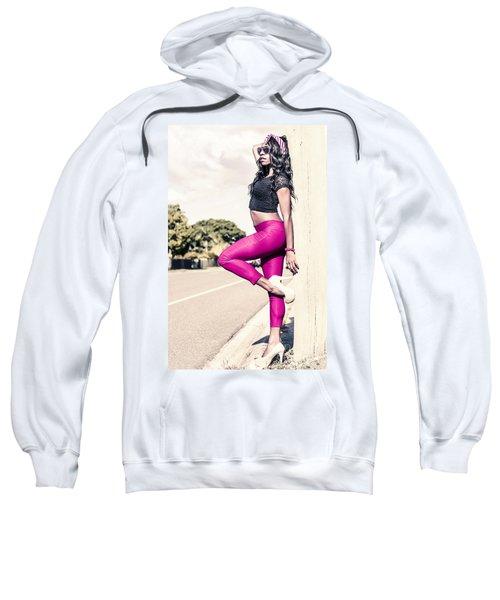 Classy Model In Elegant Fashion Outfit By Road Sweatshirt