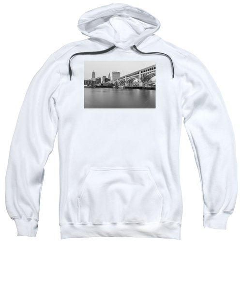 Cleveland Skyline In Black And White  Sweatshirt