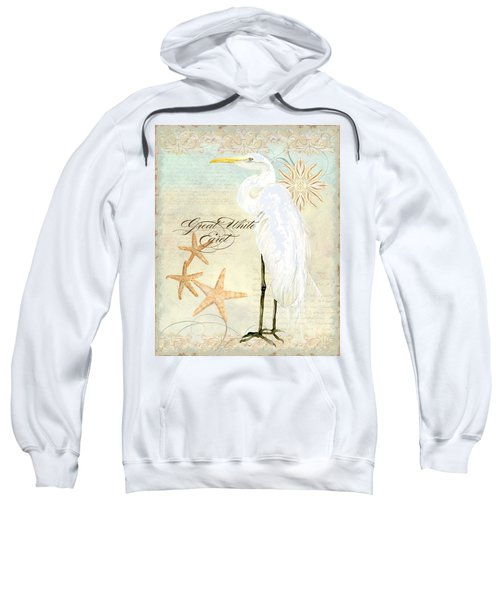 Coastal Waterways - Great White Egret 3 Sweatshirt by Audrey Jeanne Roberts