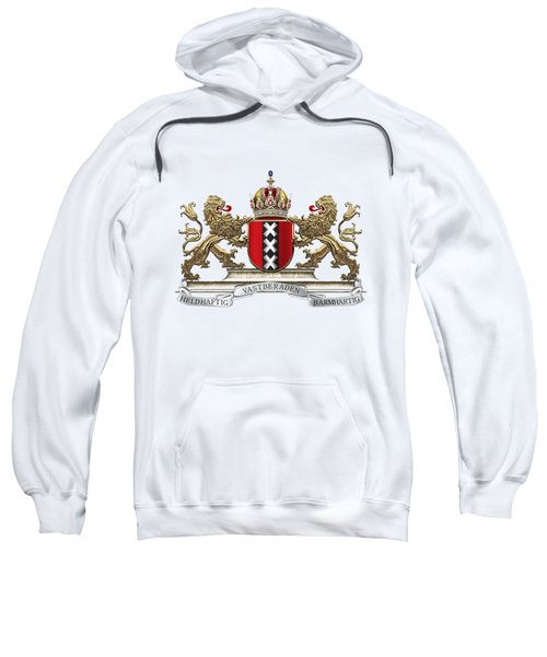 Coat Of Arms Of Amsterdam Over White Leather  Sweatshirt