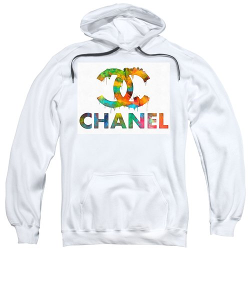 Sweatshirt featuring the painting Coco Chanel Paint Splatter Color by Dan Sproul