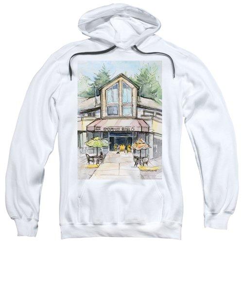 Coffee Shop Watercolor Sketch Sweatshirt by Olga Shvartsur