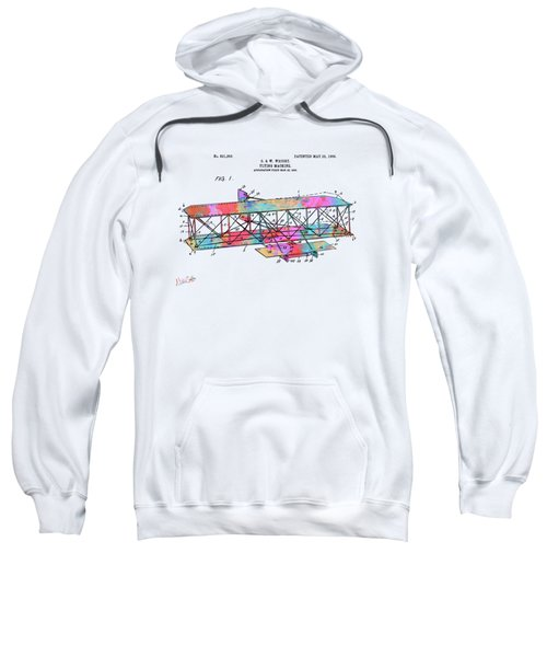 Colorful 1906 Wright Brothers Flying Machine Patent Sweatshirt