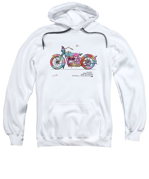Colorful 1928 Harley Motorcycle Patent Artwork Sweatshirt