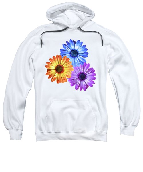 Colorful Daisies With Water Drops On White Sweatshirt