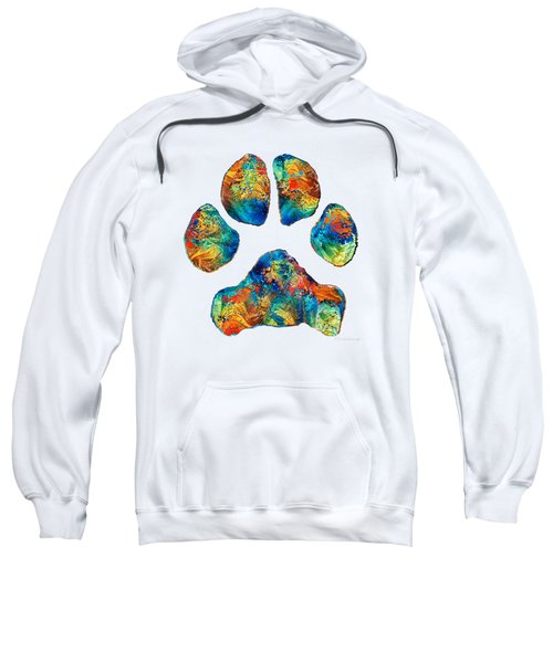Colorful Dog Paw Print By Sharon Cummings Sweatshirt by Sharon Cummings