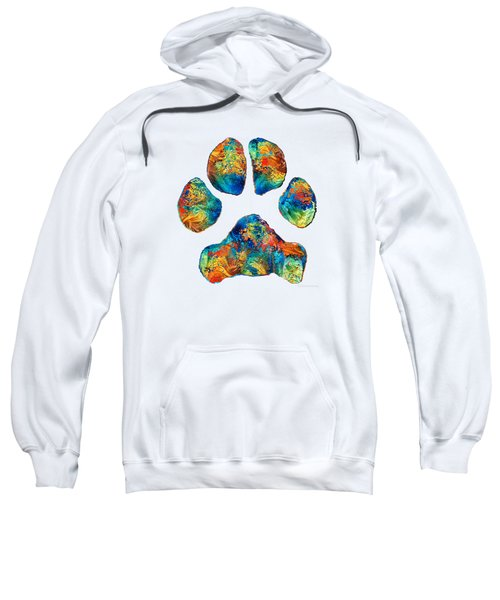 Colorful Dog Paw Print By Sharon Cummings Sweatshirt