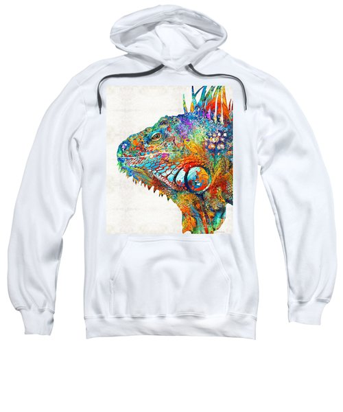 Colorful Iguana Art - One Cool Dude - Sharon Cummings Sweatshirt