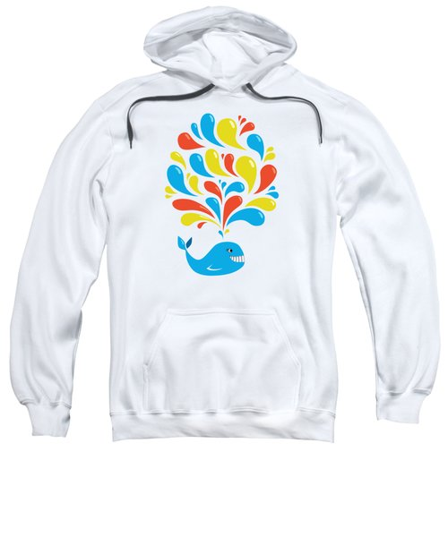 Colorful Swirls Happy Cartoon Whale Sweatshirt