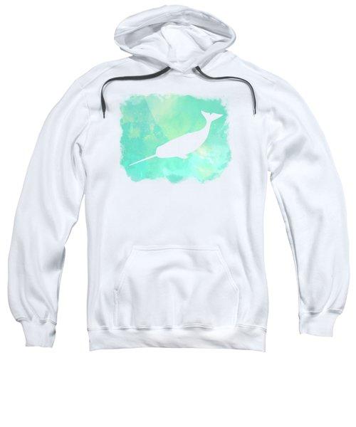 Colorful Watercolor Narwhal Sea Life Coastal Art Sweatshirt
