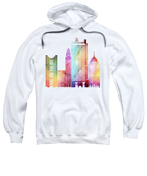 Columbus Landmarks Watercolor Poster Sweatshirt