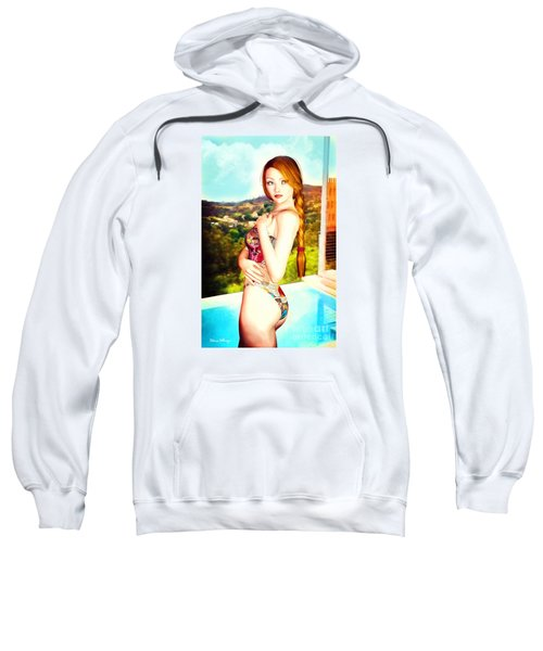 Comic Book Swimsuit Pinup In The Hollywood Hills Sweatshirt