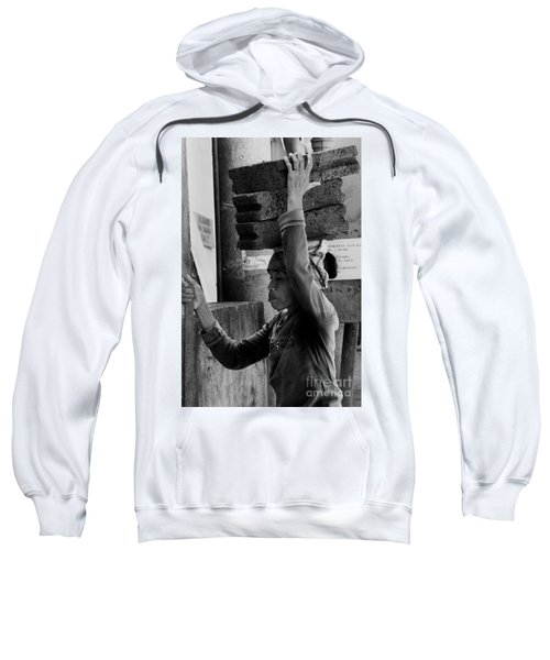 Sweatshirt featuring the photograph Construction Labourer - Bw by Werner Padarin