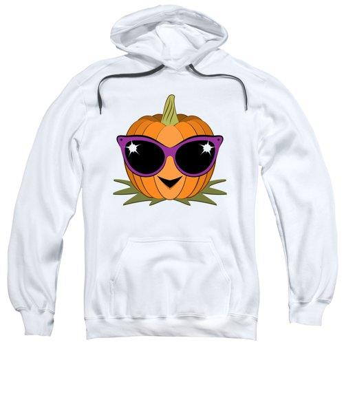 Cool Pumpkin Wearing Retro Cat Sunglasses Sweatshirt