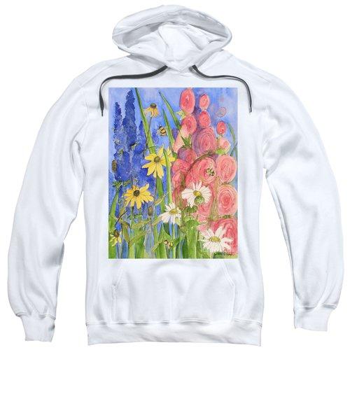 Cottage Garden Daisies And Blue Skies Sweatshirt