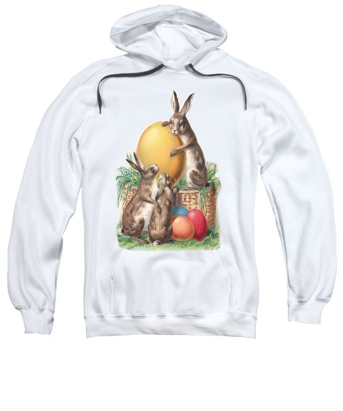 Sweatshirt featuring the digital art Cottontails And Eggs by Reinvintaged