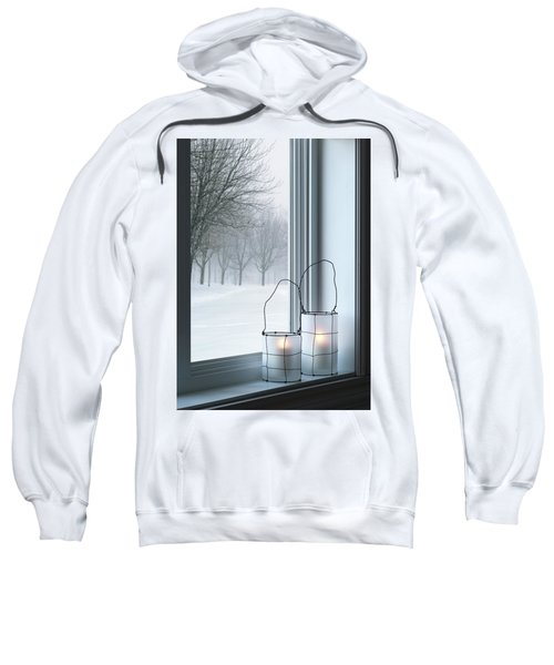 Cozy Lanterns And Winter Landscape Seen Through The Window Sweatshirt