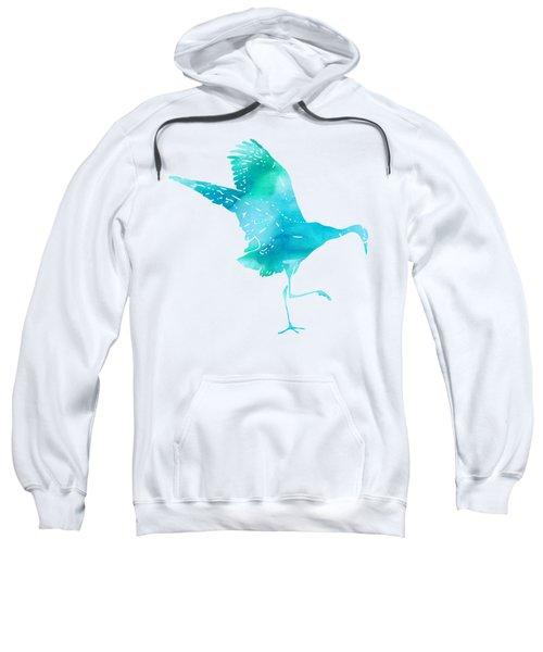 Crane Ready For Flight - Blue-green Watercolor Sweatshirt