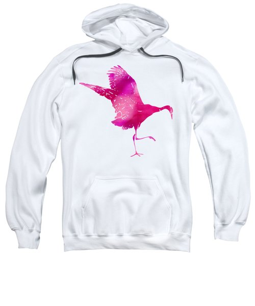 Crane Ready For Flight - Pink Watercolor Sweatshirt by Custom Home Fashions