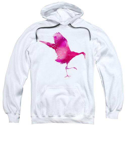 Crane Ready For Flight - Pink Watercolor Sweatshirt
