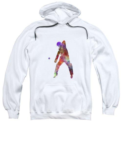 Cricket Player Batsman Silhouette 02 Sweatshirt by Pablo Romero