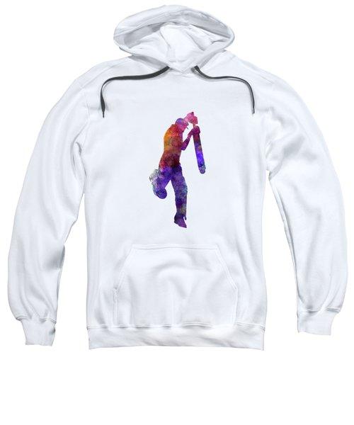 Cricket Player Batsman Silhouette 09 Sweatshirt by Pablo Romero