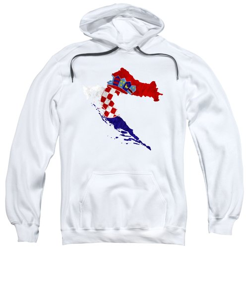 Croatia Map Art With Flag Design Sweatshirt