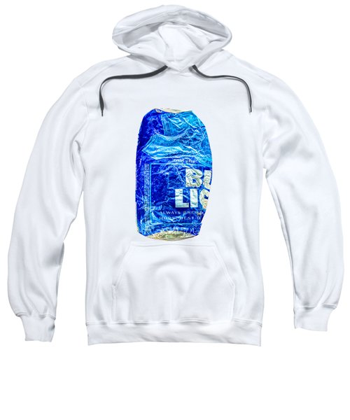 Crushed Blue Beer Can On Plywood 78 Color On Bw Sweatshirt