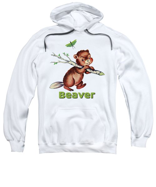 Cute Baby Beaver Pattern Sweatshirt by Tina Lavoie